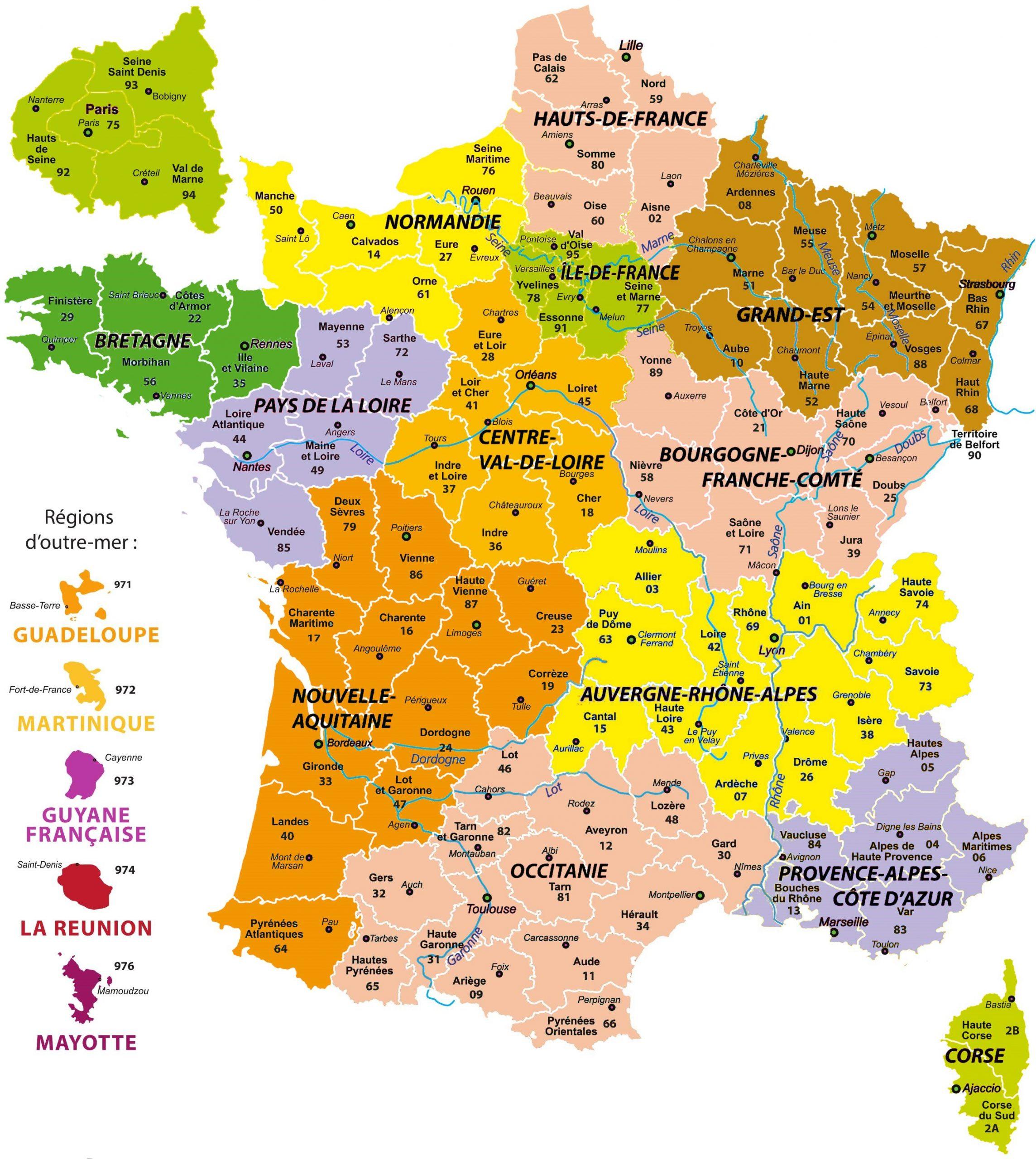 Carte 13 Region avec Les 13 Régions
