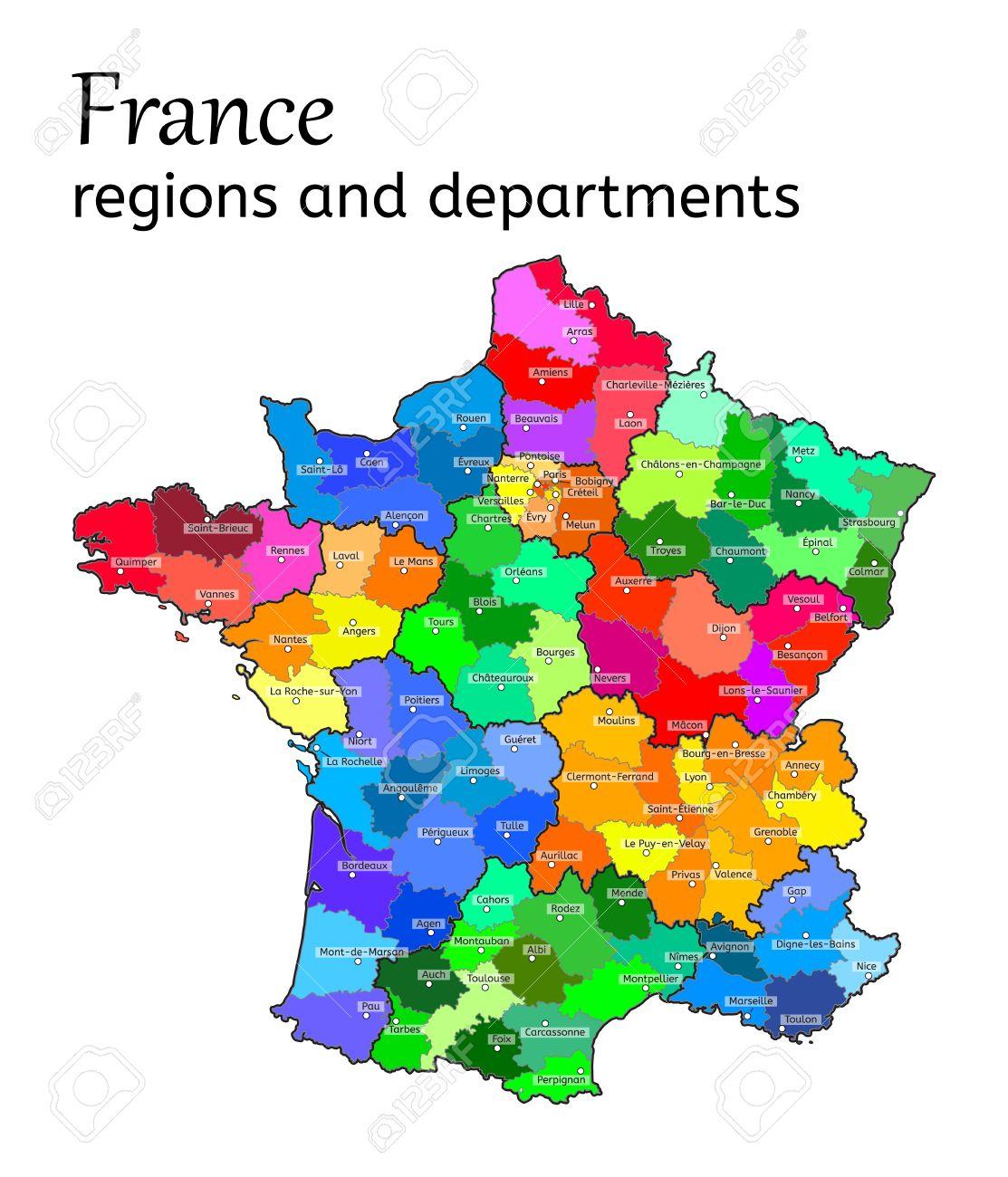 Carte Administrative De La France Avec Les Régions Et Les Départements Sur  Blanc avec Carte De France Avec Les Départements