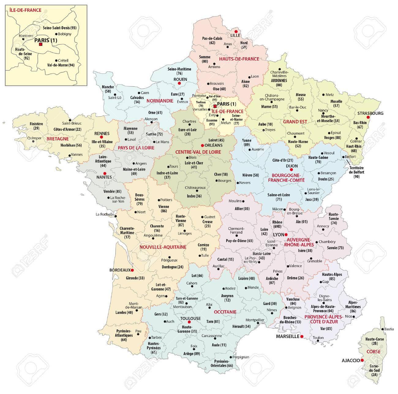 Carte Administrative Des 13 Régions De France Depuis 2016 à Carte Des Régions De France 2016