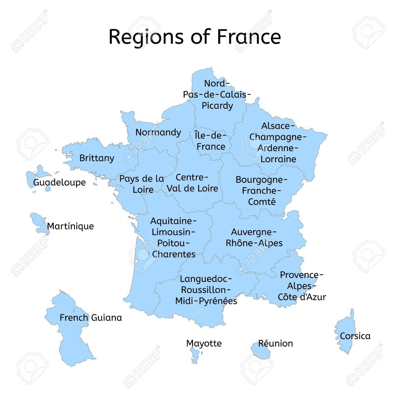Carte Administrative France Avec De Nouvelles Régions Sur Blanc avec Carte Des Nouvelles Régions Françaises