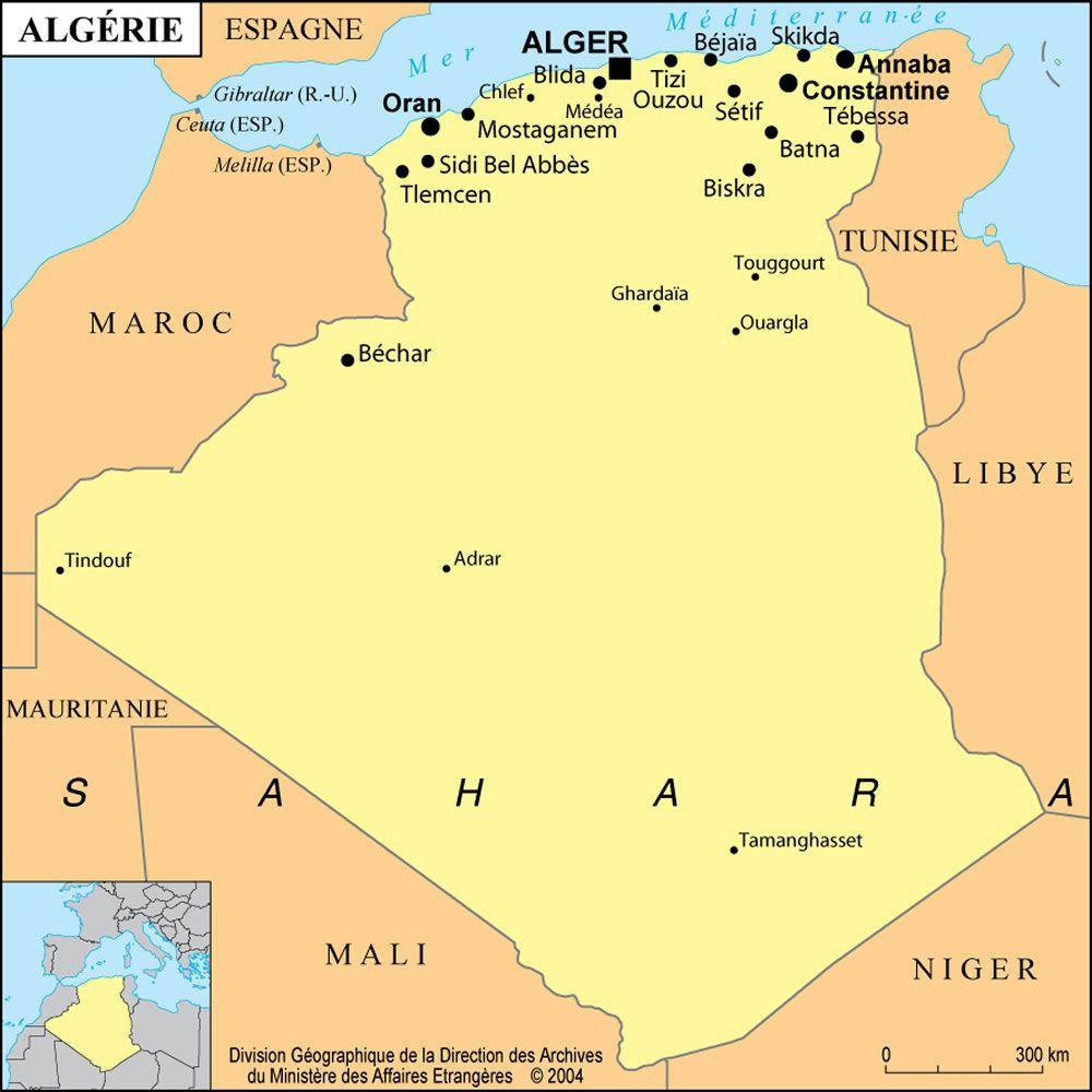 Carte Algérie Grande Ville, La Carte Des Grandes Villes dedans Carte De France Grande Ville