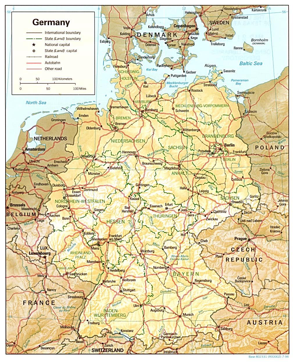 Carte Allemagne, Carte De Allemagne serapportantà Carte Europe Enfant