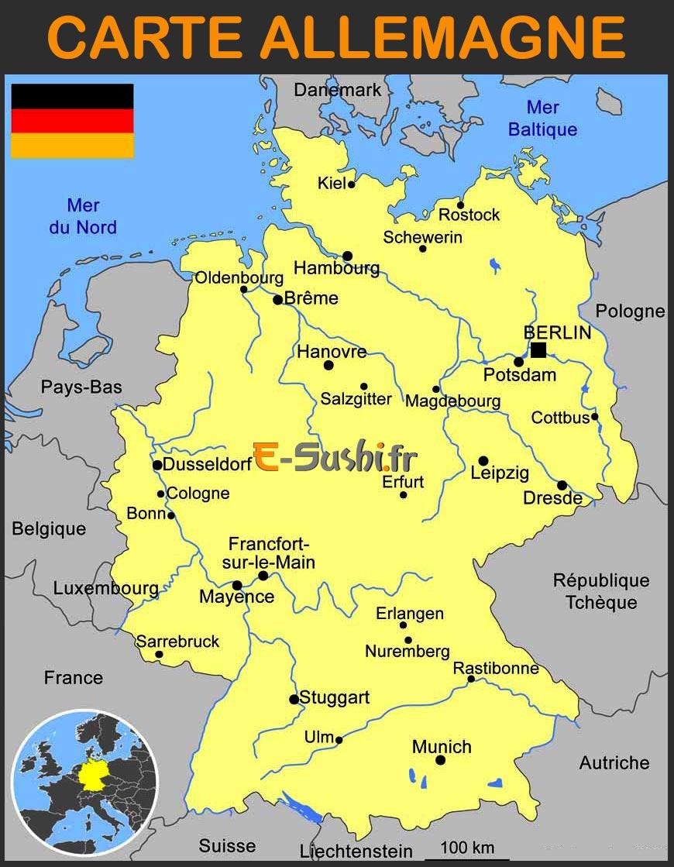 Carte Allemagne - Images Et Plans - Arts Et Voyages tout Carte De France Avec Region