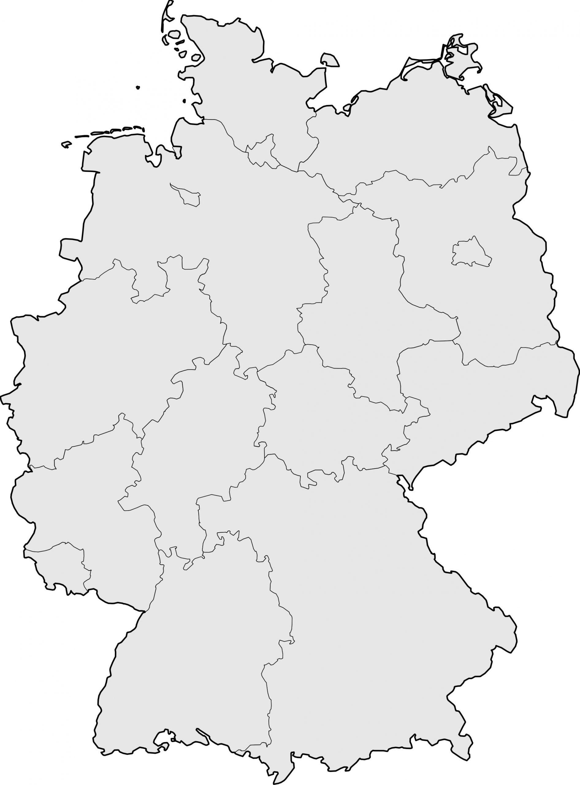 Carte Allemagne Vierge, Carte Vierge De L'allemagne destiné Carte De France Des Régions Vierge