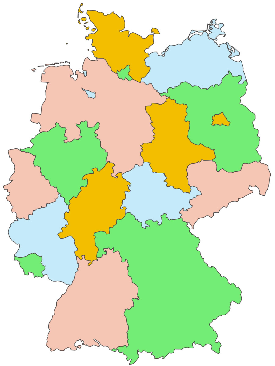 Carte Allemagne Vierge Régions, Carte Vierge Des Régions De tout Carte Des Régions Vierge