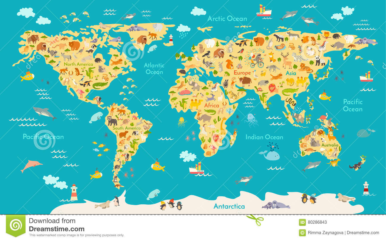 Carte Animale Pour L'enfant Affiche De Vecteur Du Monde Pour destiné Carte Du Monde Enfant