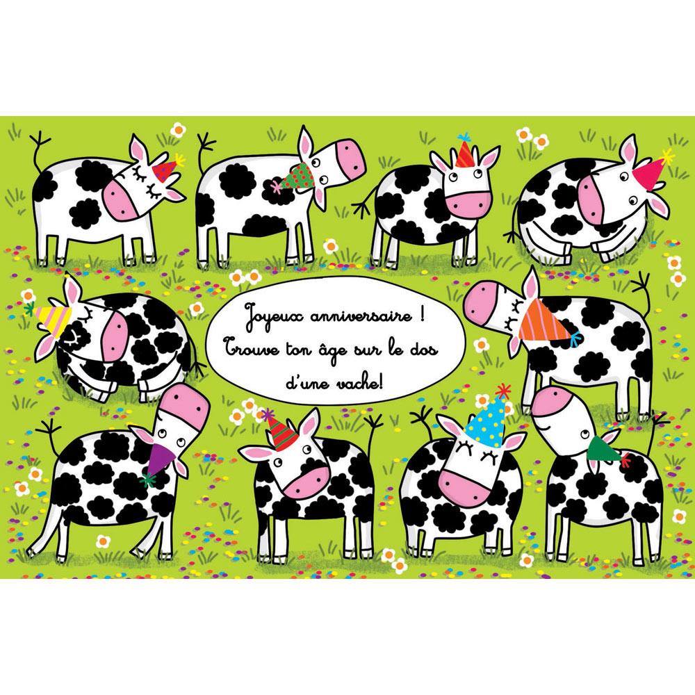 """Carte Anniversaire Cécile Drevon """"anniversaire Vaches"""" pour Carte De France Ludique"""