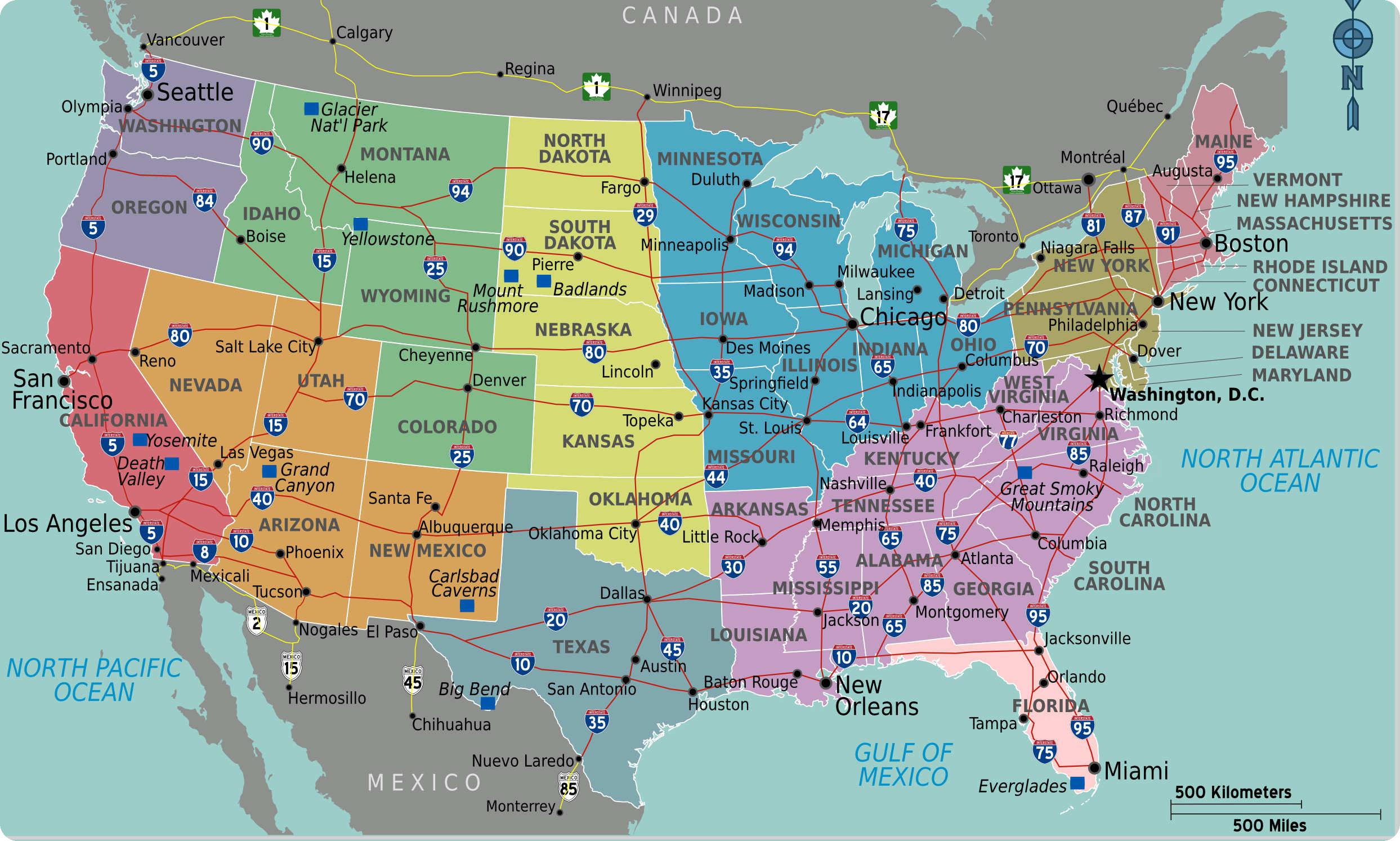 Carte Autoroutes Usa Etats Unis | Carte Californie, Carte destiné Carte Etat Amerique