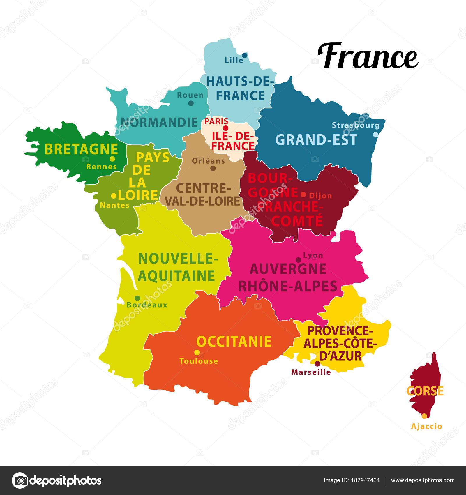 Carte Belle Colorée France Avec Nouvelles Régions Capitales tout Carte Des Régions De La France