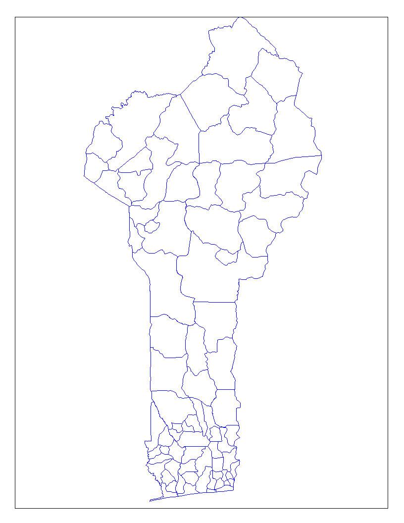 Carte Bénin Vierge Départements, Carte Vierge Des tout Carte Département Vierge