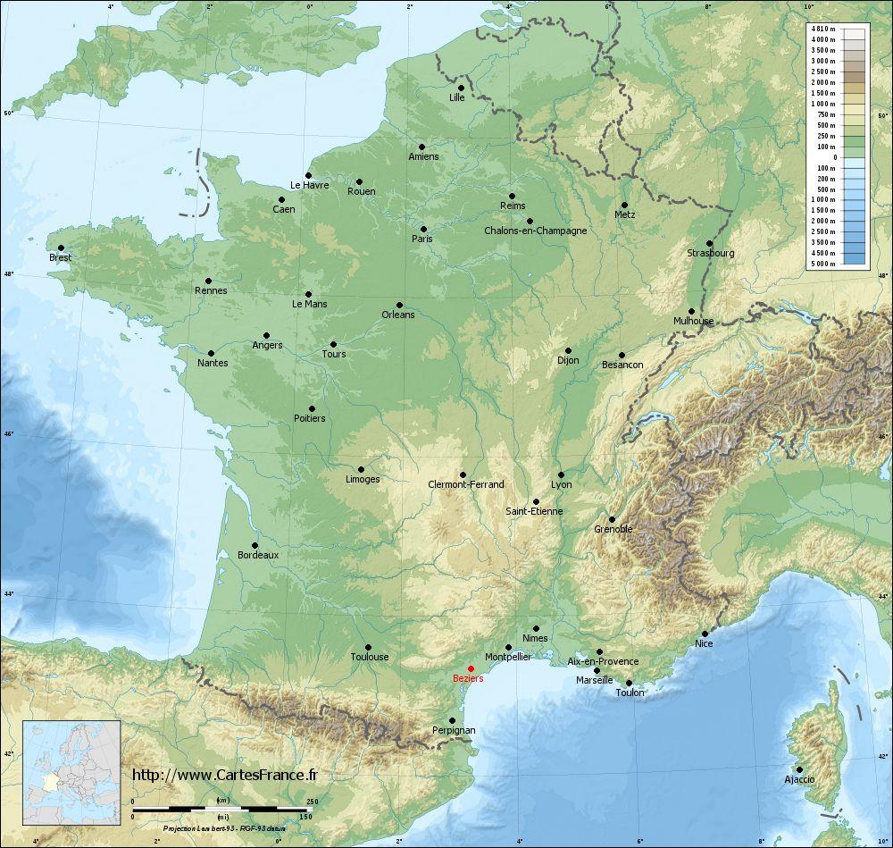 Carte Beziers : Cartes De Béziers 34500 à Carte De France Grand Format