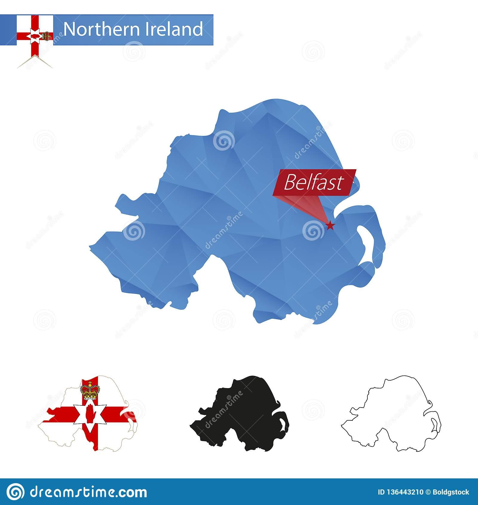 Carte Bleue De L'irlande Du Nord Basse Poly Avec La Capitale serapportantà Europe Carte Capitale