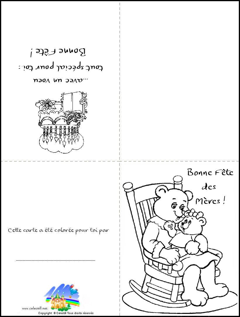 Carte Bonne Fête Des Mères - Coloriage Enfants à Carte A Imprimer Fete Des Meres