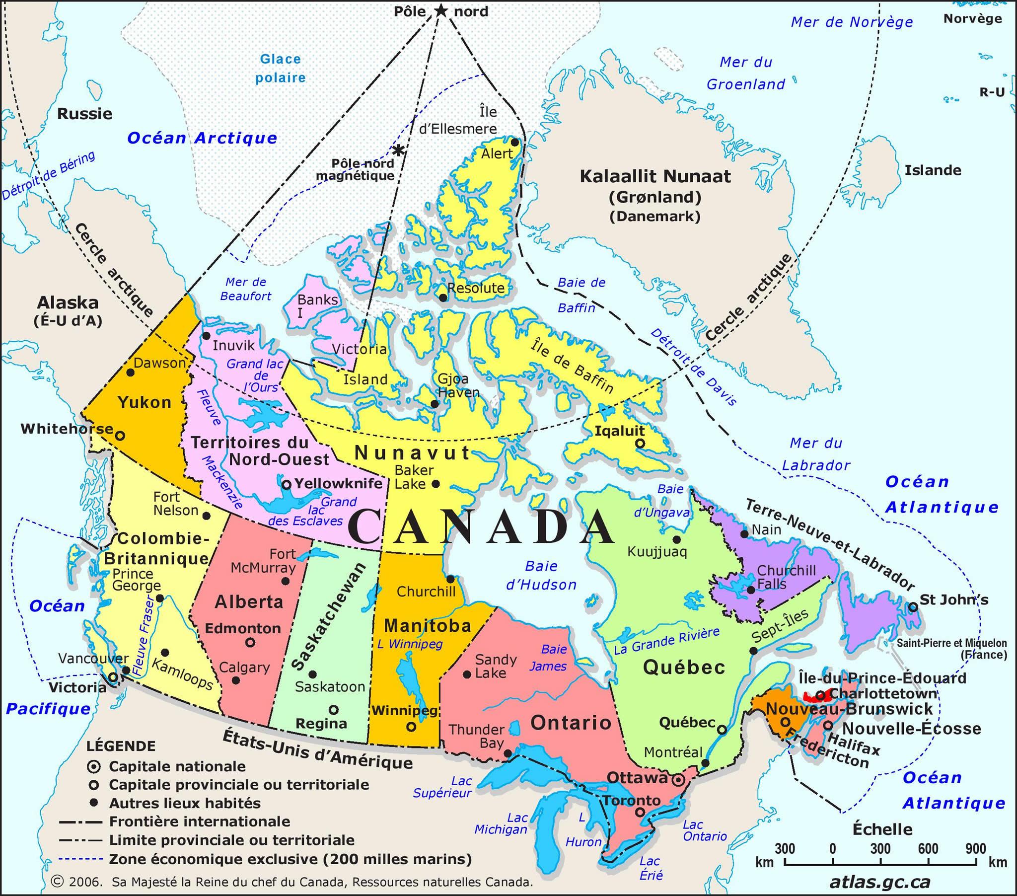 Carte Canada, Carte De Canada tout Carte De L Europe Détaillée