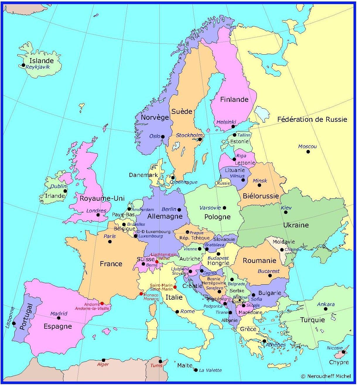 Carte Capitales Des Pays D'europe | Capital Des Pays encequiconcerne Pays Et Capitales Union Européenne