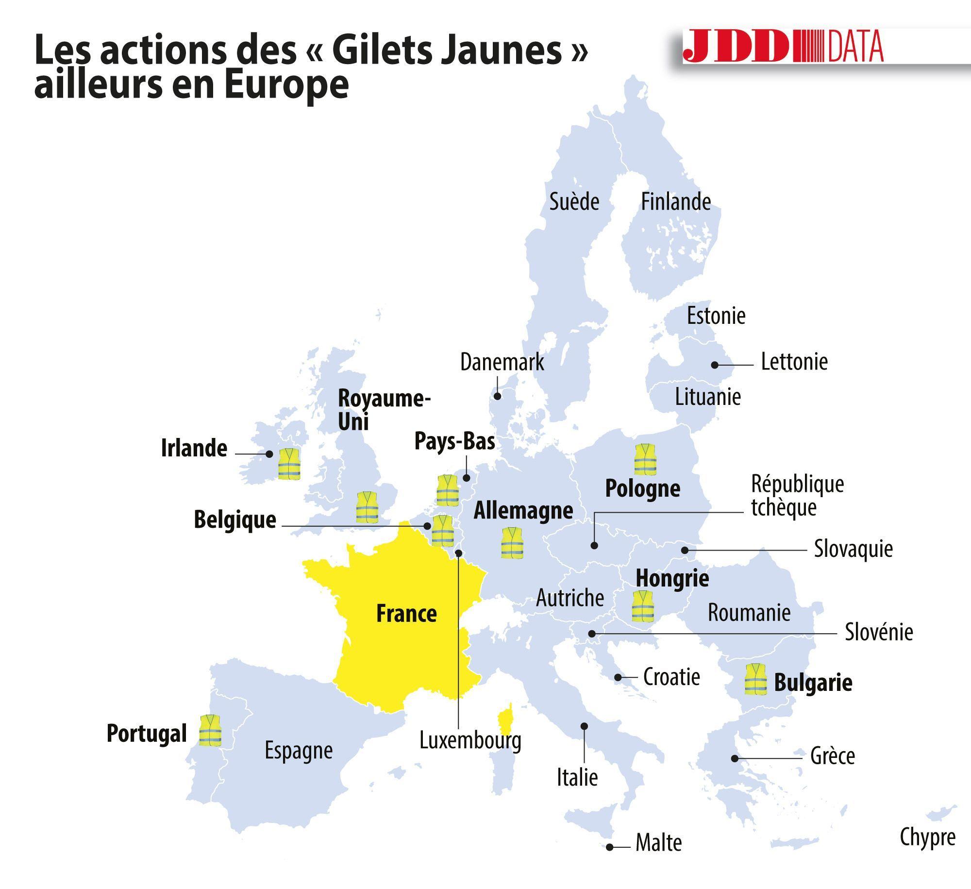 Carte. Ces Pays En Europe Où Des Gilets Jaunes Ont Défilé tout Carte Pays D Europe
