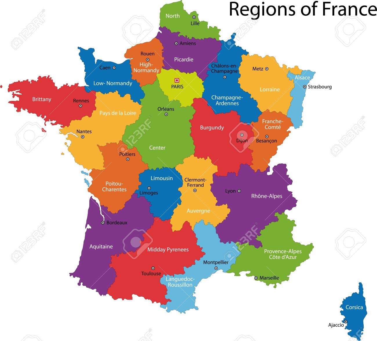 Carte Colorée France Avec Les Régions Et Les Principales Villes concernant Carte De France Avec Les Villes