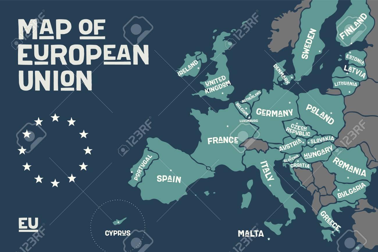 Carte D'affiche De L'union Européenne Avec Les Noms De Pays Et Les  Capitales. Imprimer La Carte De L'ue Pour Le Web Et La Polygraphie, Sur Les avec Carte D Europe À Imprimer
