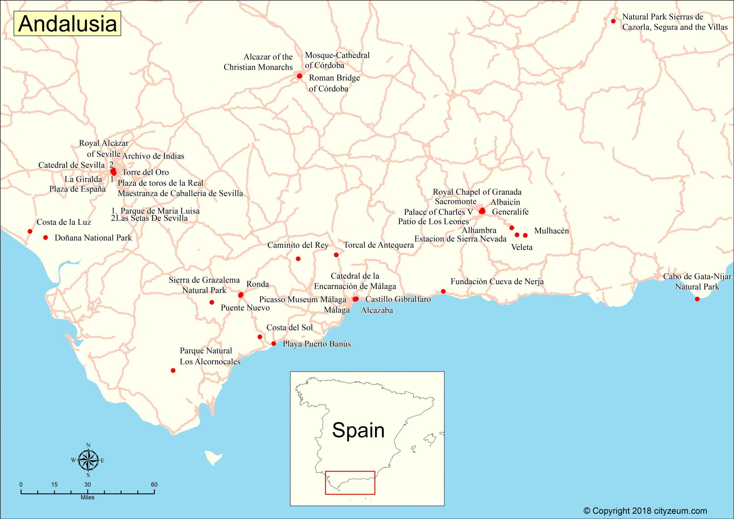 Carte D'andalousie, Plan Des 90 Principaux Lieux dedans Carte De France Grande Ville