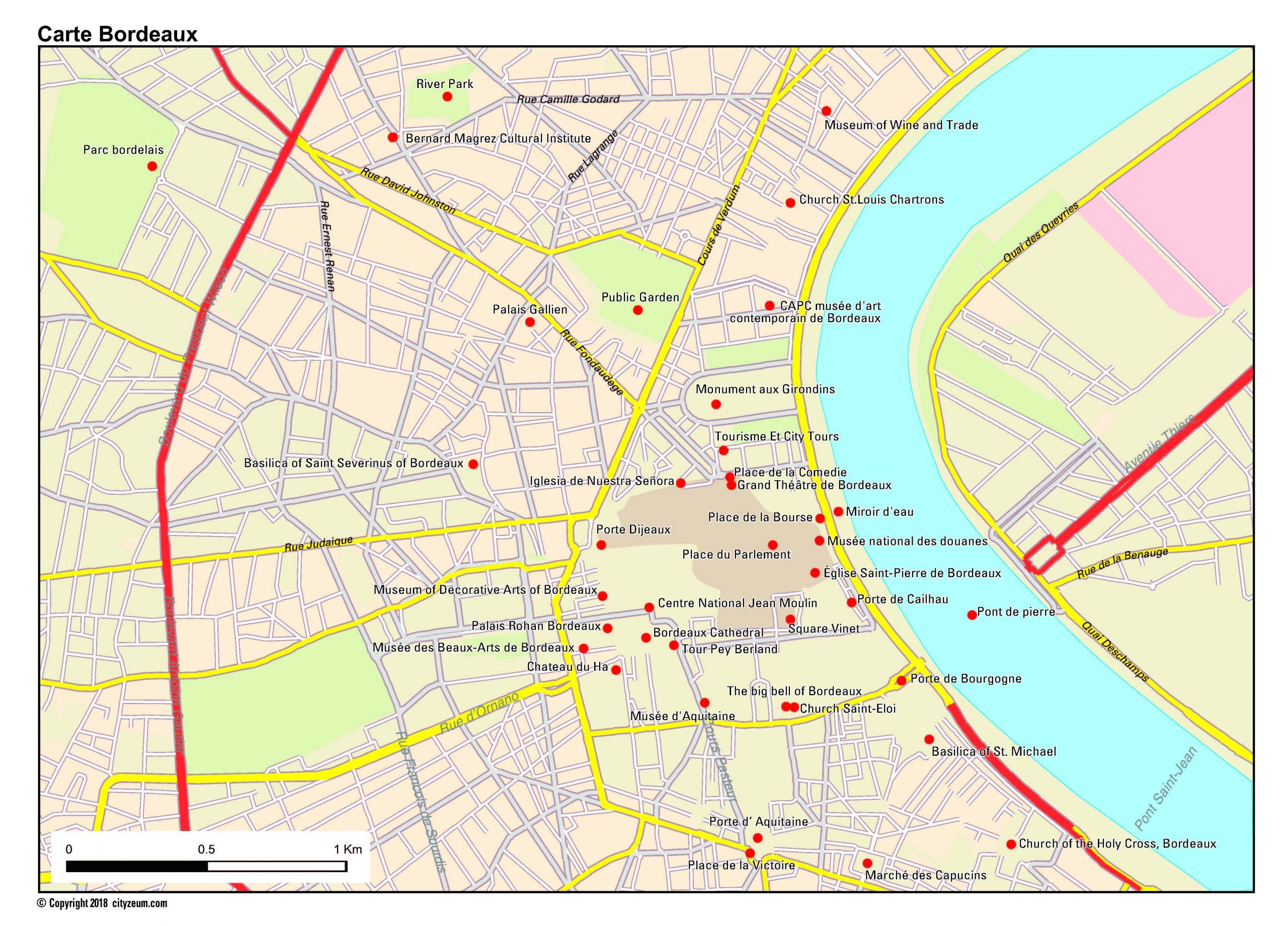 Carte De Bordeaux Plan Des 21 Lieux À Voir dedans Carte De France Ludique