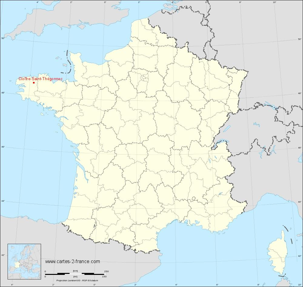 Carte De Cloître-Saint-Thégonnec : Situation Géographique Et intérieur Plan De France Avec Departement