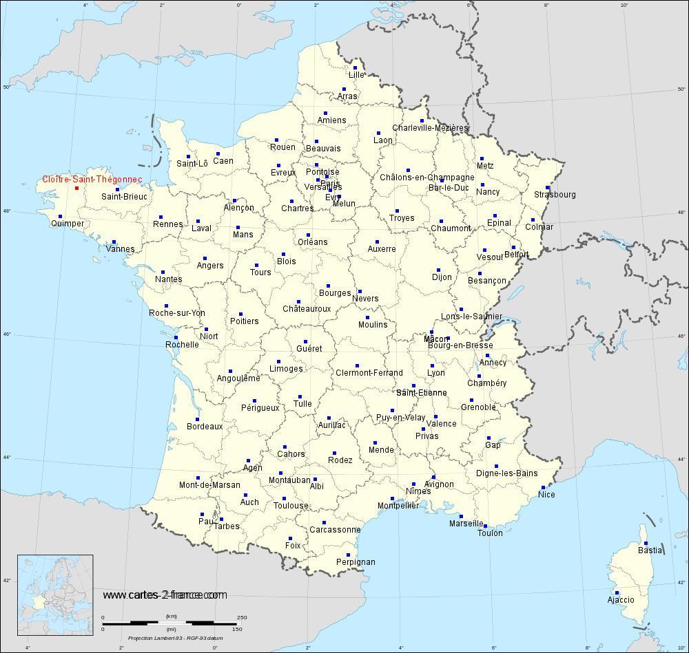 Carte De Cloître-Saint-Thégonnec : Situation Géographique Et serapportantà Plan De France Avec Departement