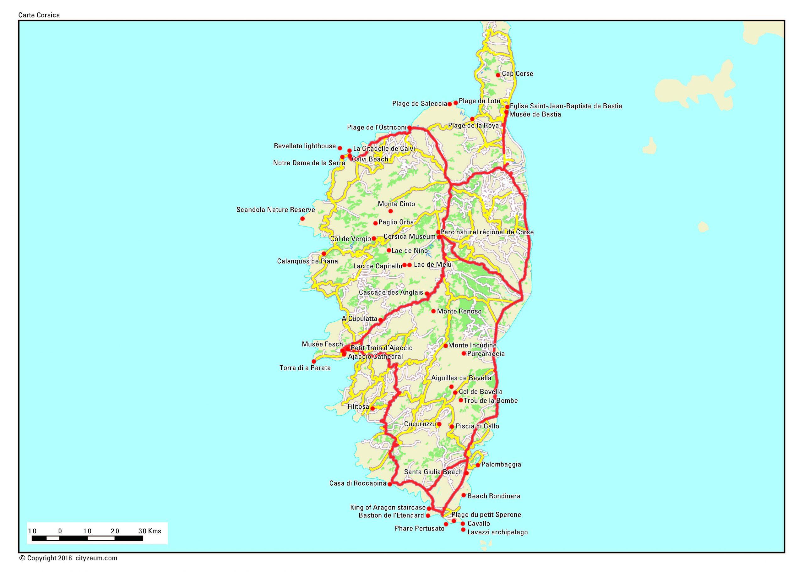 Carte De Corse Plan Des 91 Lieux À Voir pour Carte De France Imprimable Gratuite
