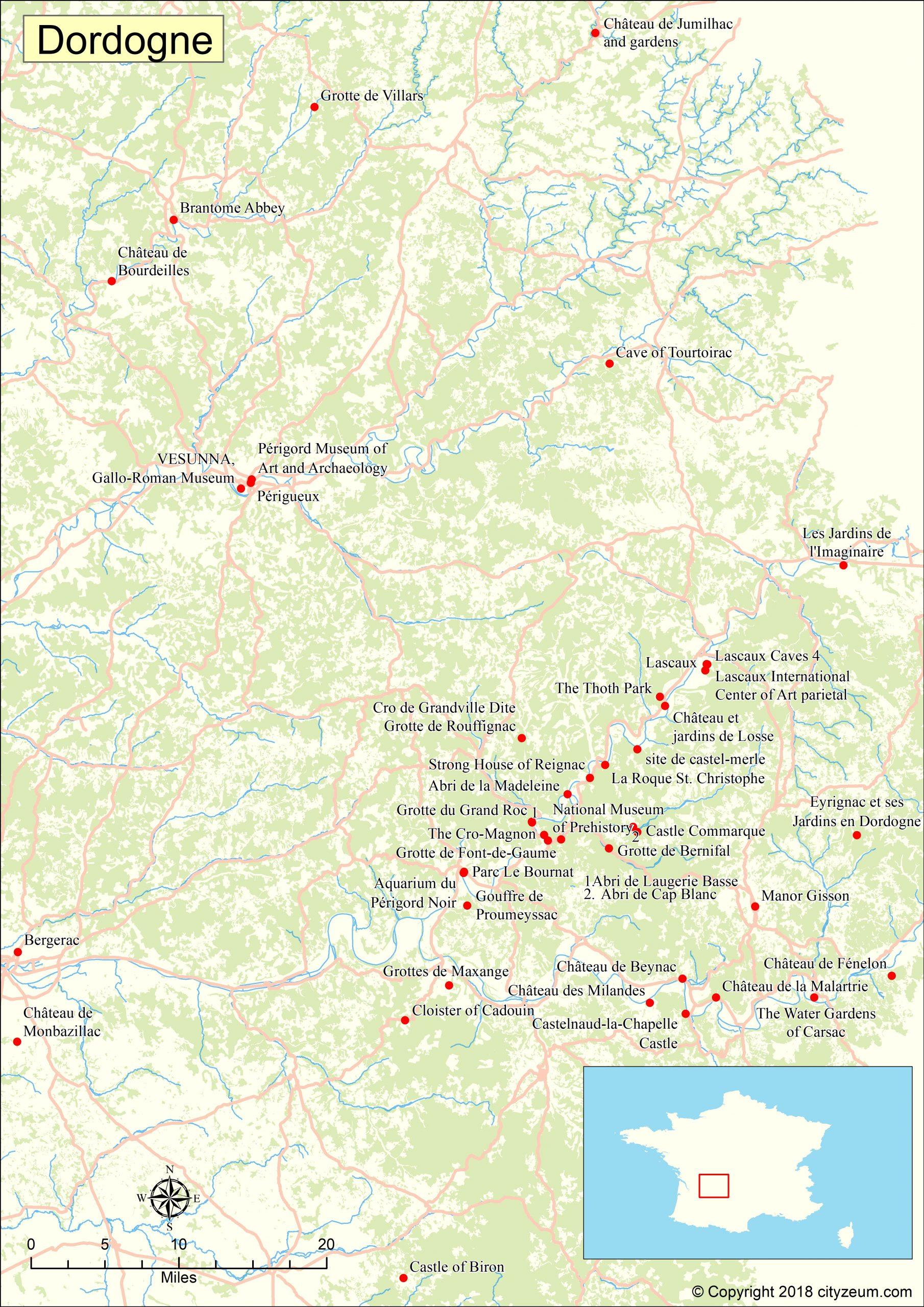 Carte De Dordogne Plan Des 11 Lieux À Voir serapportantà Carte De France Detaillée Gratuite