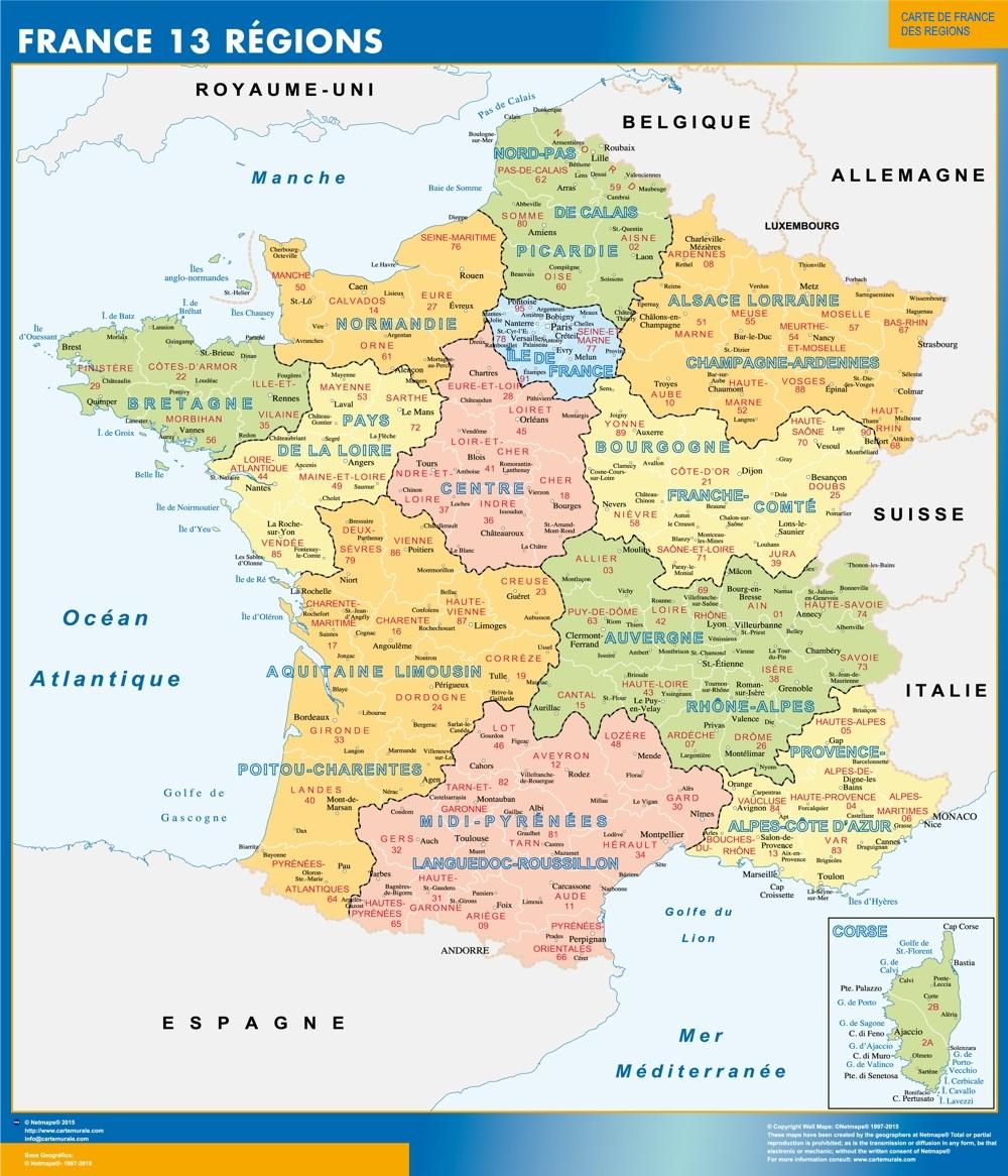Carte De France 13 Régions avec Carte Des Régions Et Départements De France À Imprimer