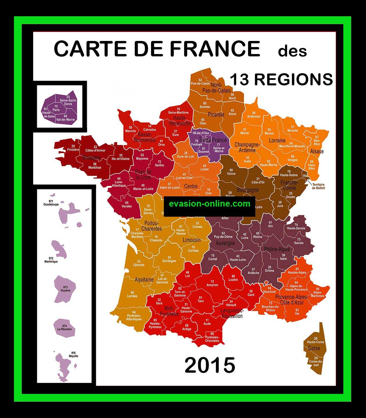 Carte De France 13 Régions » Vacances - Arts- Guides Voyages à Les 13 Régions