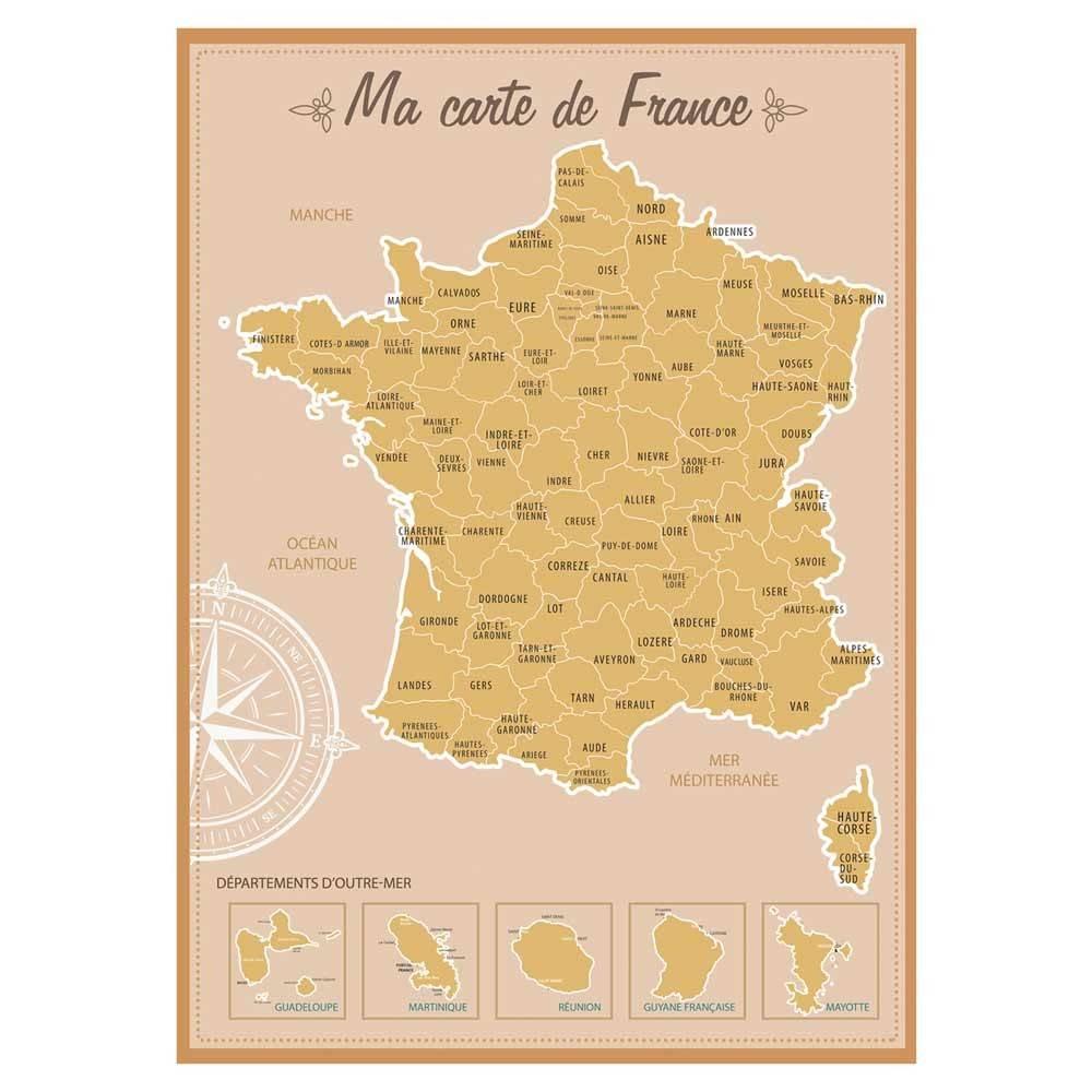Carte De France À Gratter - Les Boutiques Du Net - Cadeau Rigolo à Carte De France Avec Département