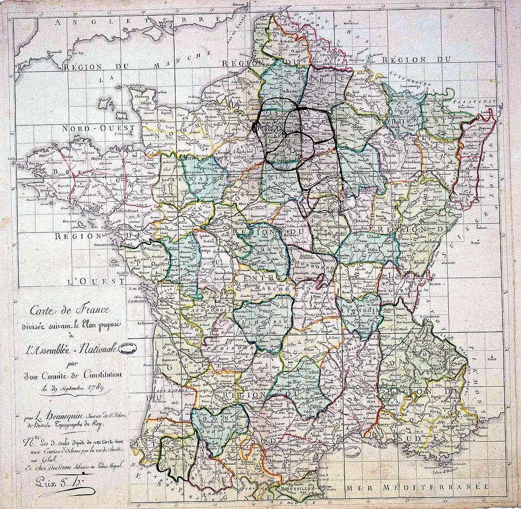 Carte De France À La Révolution: Création Des Départements pour Decoupage Region France