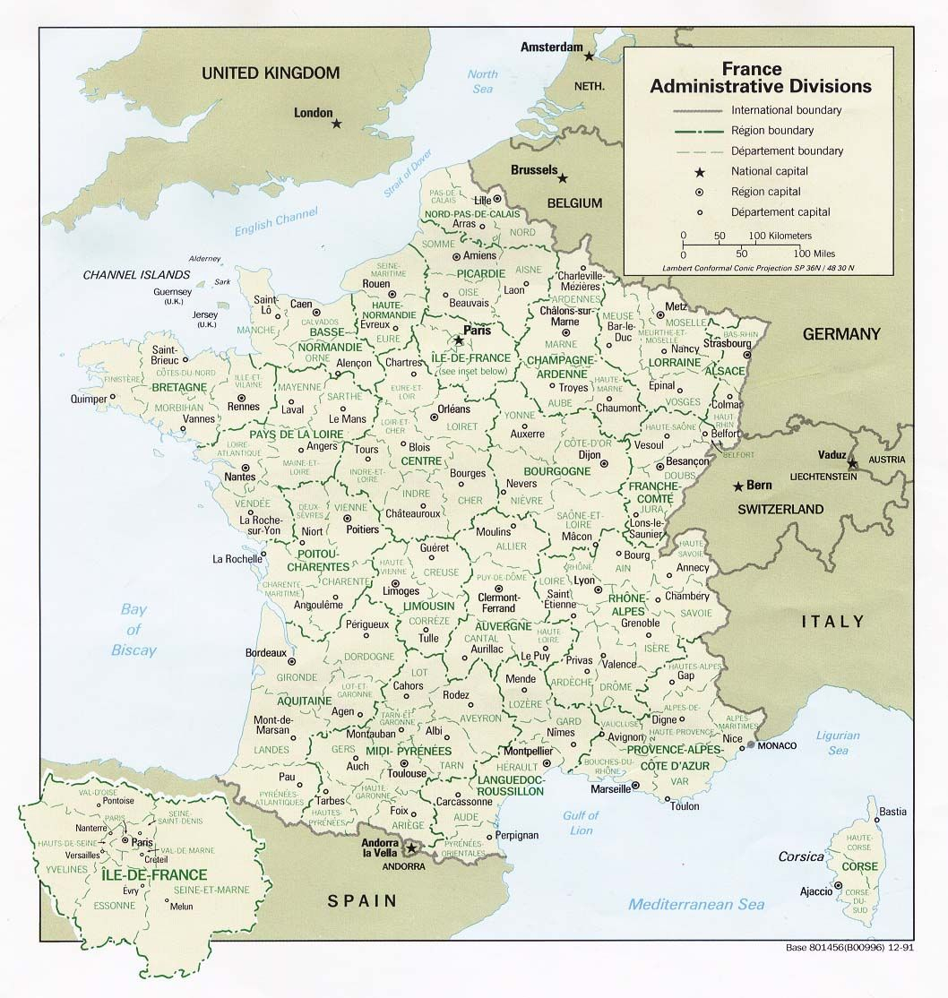 Carte De France Administrative Découpées En Régions Et concernant Carte De France Avec Département