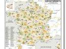 Carte De France Administrative Des Départements - Modèle Vintage - Affiche  100X100Cm à Carte De France Avec Départements Et Préfectures