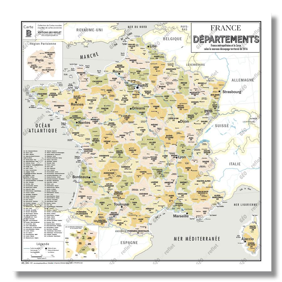 Carte De France Administrative Des Départements - Modèle Vintage - Affiche  100X100Cm tout Départements Et Régions De France