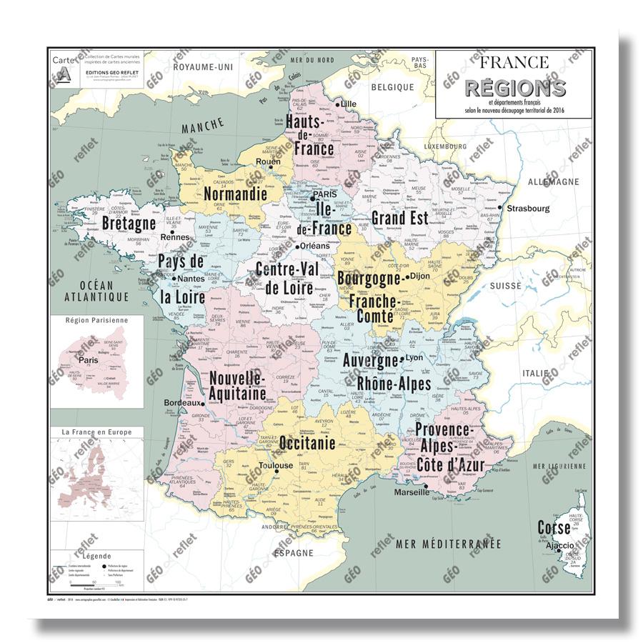 Carte De France Administrative Des Régions - Modèle Vintage - Affiche  100X100Cm avec Nouvelles Régions En France