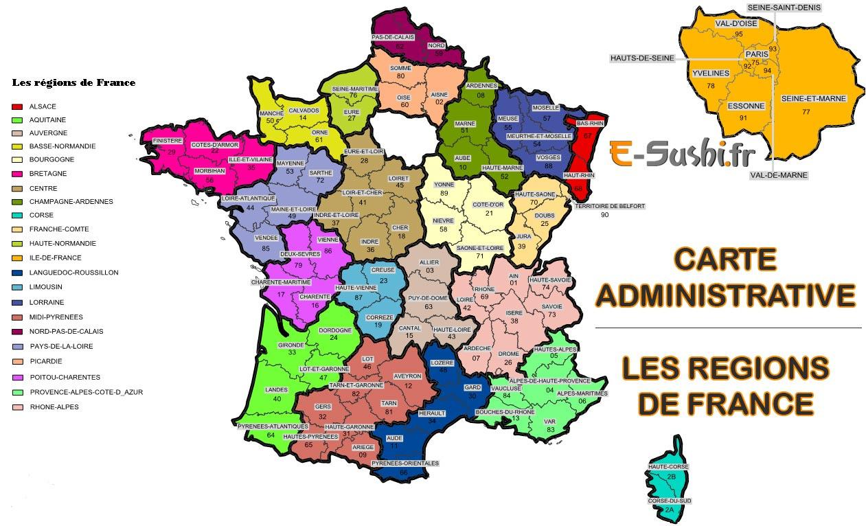 Carte De France Avec Département Et Région – Pays Lamer Avec concernant Plan De France Avec Departement