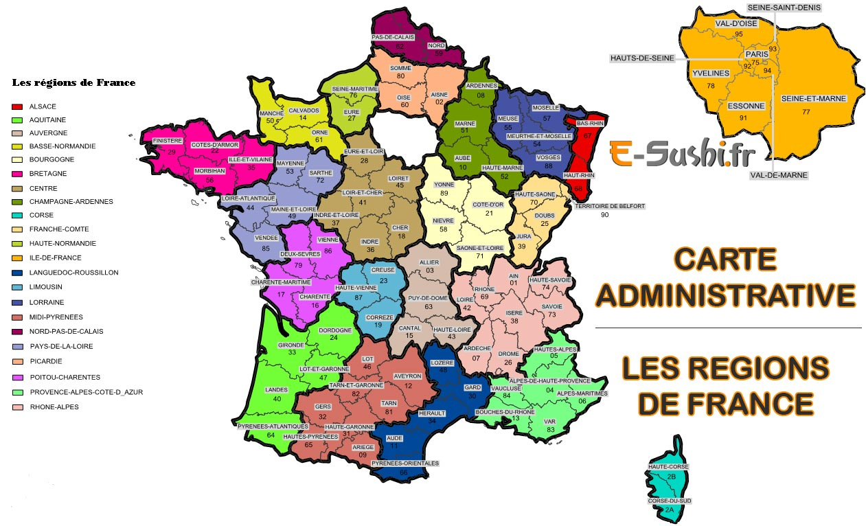 Carte De France Avec Départements Et Régions À Imprimer | My avec Départements Et Régions De France