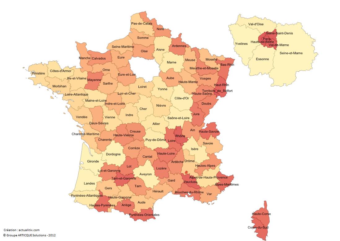 Carte De France Avec Départements - Les Noms Des Départements destiné Carte De France Avec Les Villes