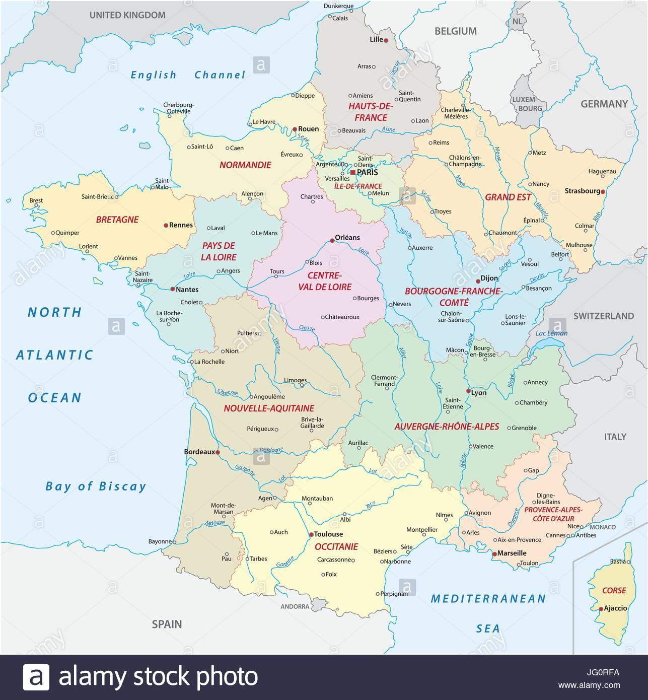 Carte De France Avec Les Nouvelles Régions Et Villes Les pour Nouvelles Régions Carte