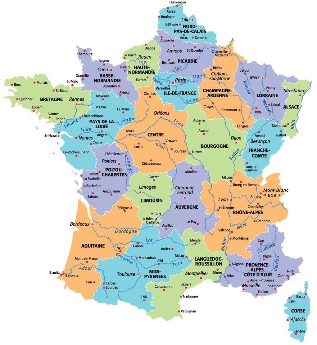 Carte De France Avec Les Régions avec Carte Des Fleuves De France