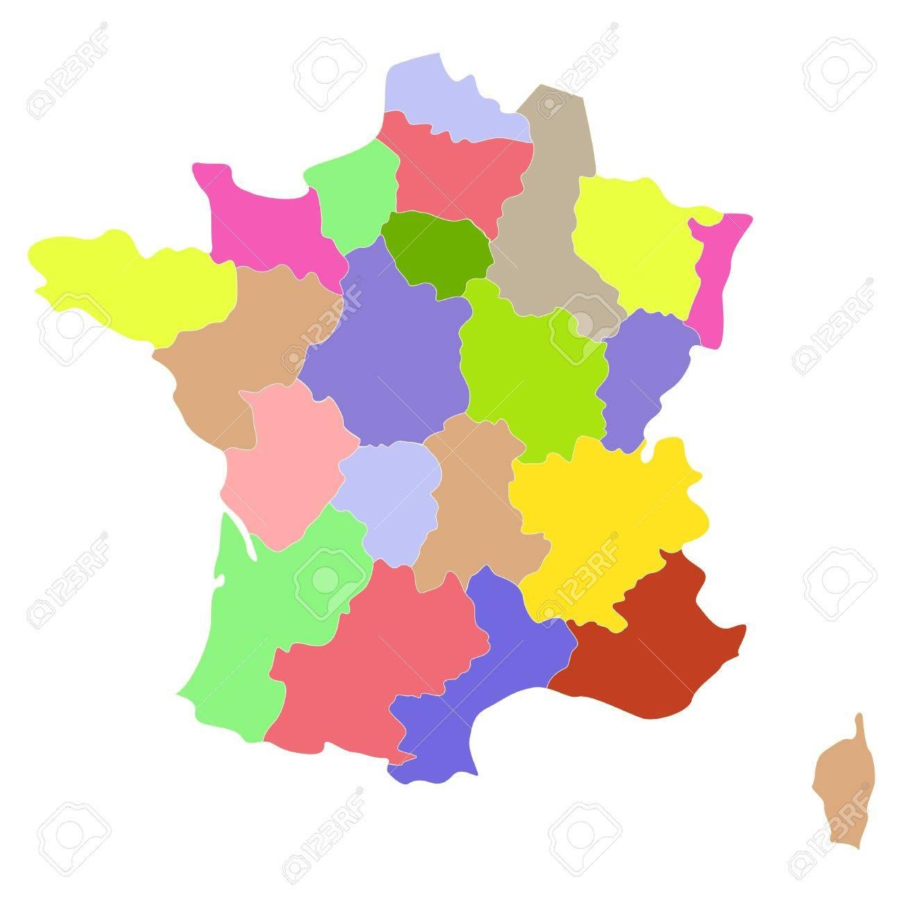 Carte De France Avec Les Régions Et Les Comtés. intérieur Carte De La France Avec Les Régions