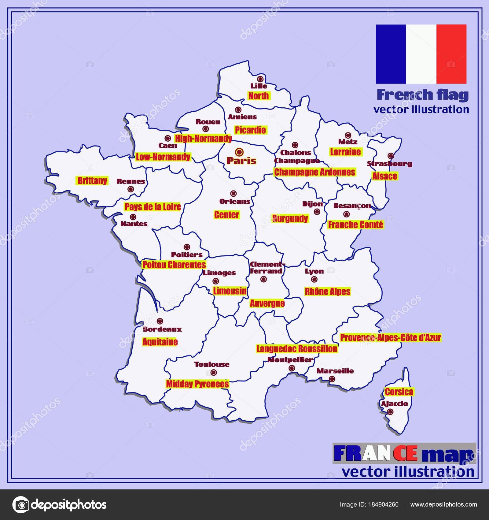 Carte De France Avec Les Régions Français. Vector. — Image tout Carte De La France Avec Les Régions