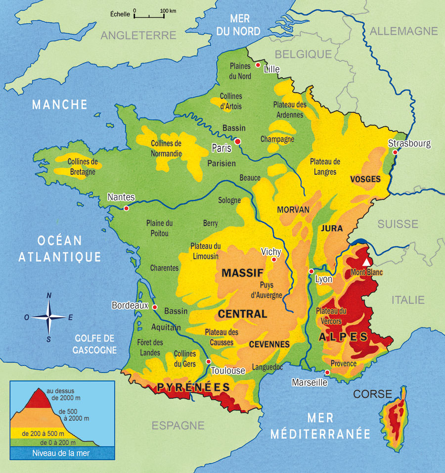 Carte De France Avec Relief Montagnes Et Plaines dedans Carte Fleuve France