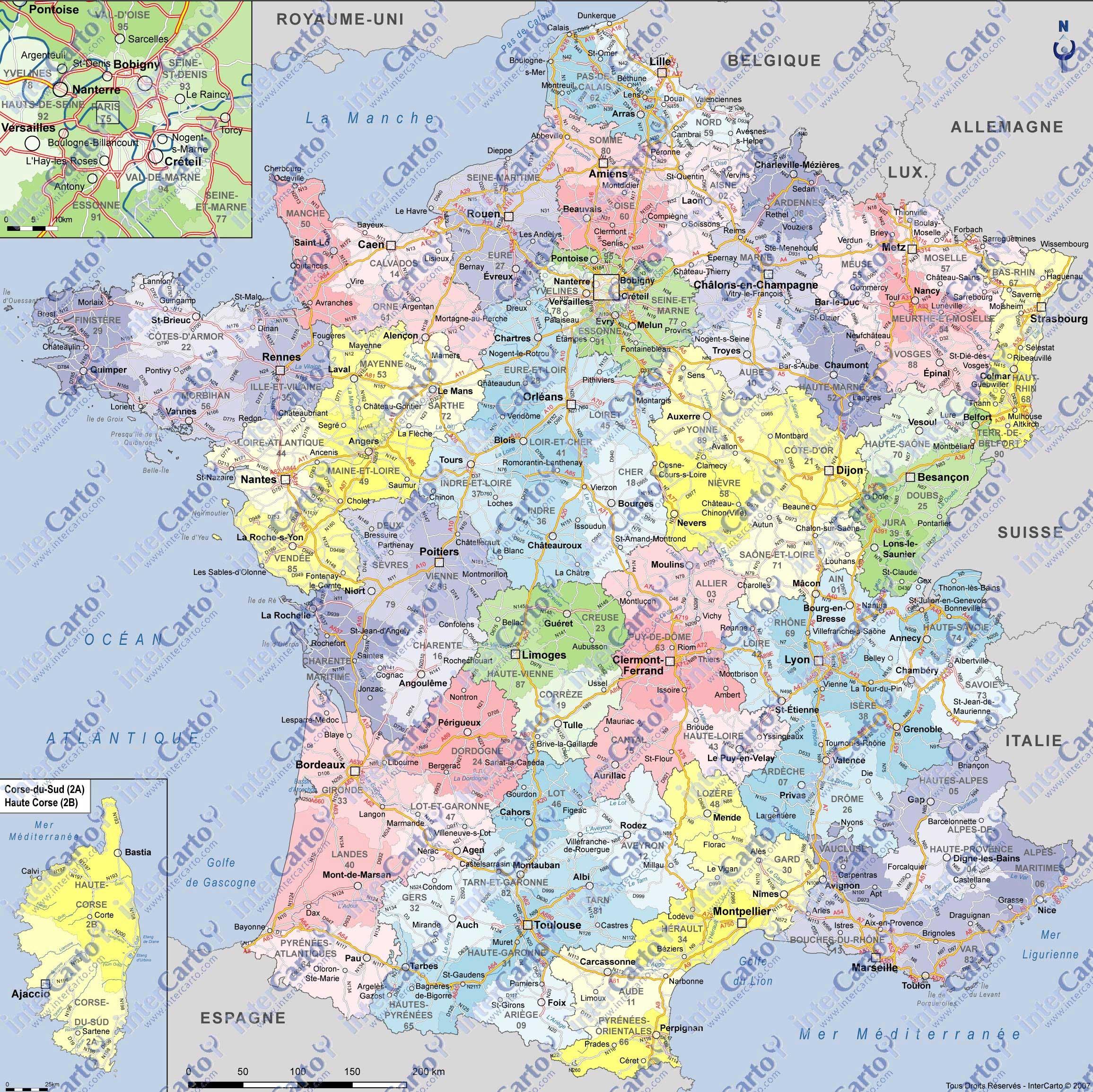 Carte De France Avec Ville encequiconcerne Carte De France Avec Les Départements