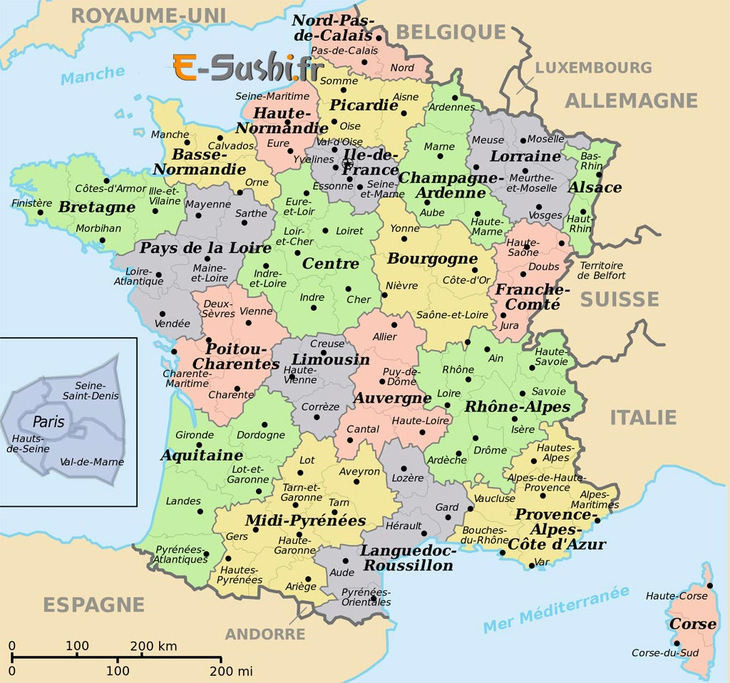 Carte De France Avec Villes Principales À Imprimer | My Blog avec Carte De France Avec Departement A Imprimer