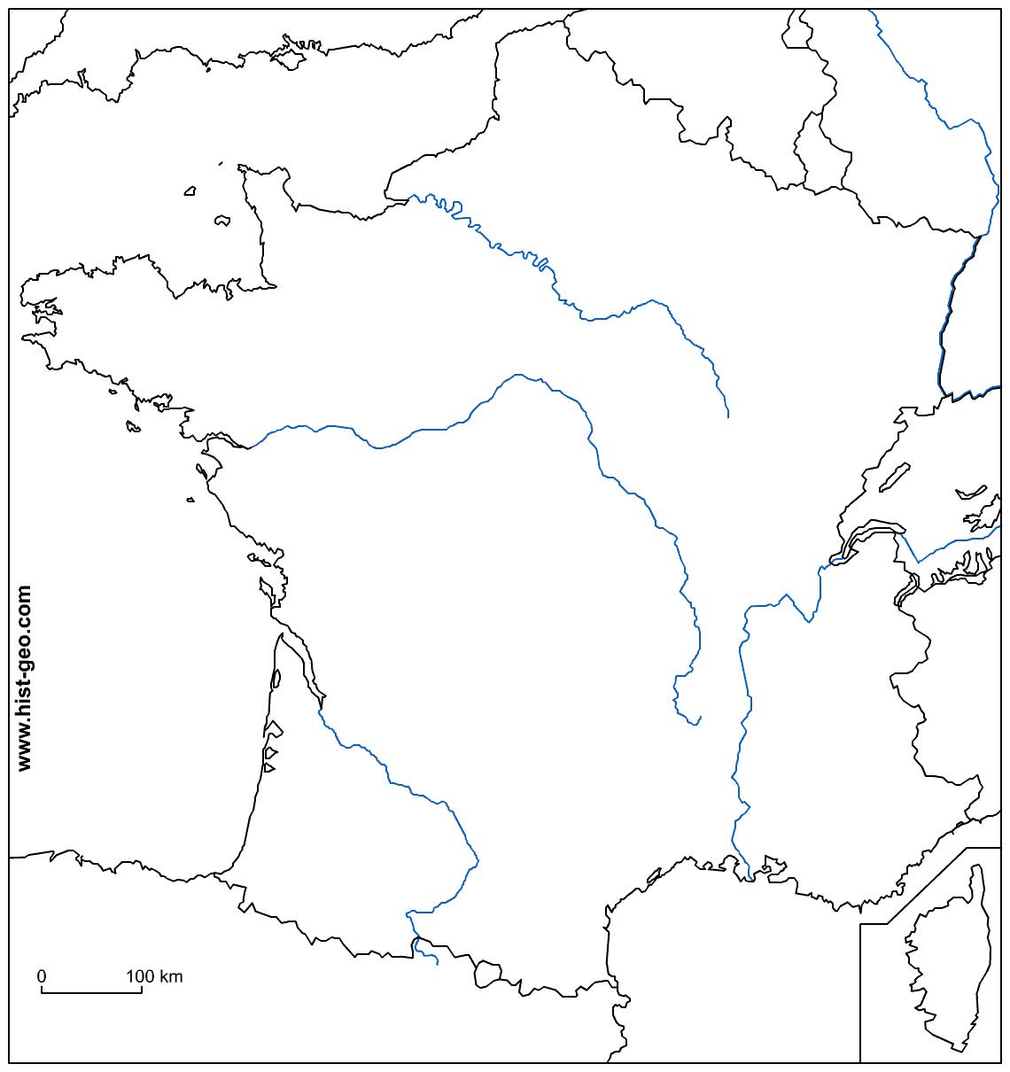Carte De France: Carte De France Fleuves à Carte France Vierge Villes
