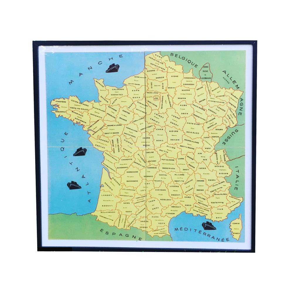 Carte-De-France-De-Jeu-Ancien-Vintage-Lecons-De-Choses- intérieur Jeu Carte De France