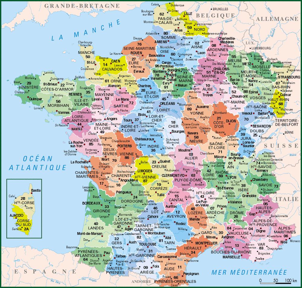 Carte De France Departements : Carte Des Départements De France intérieur Carte De France Avec Les Villes