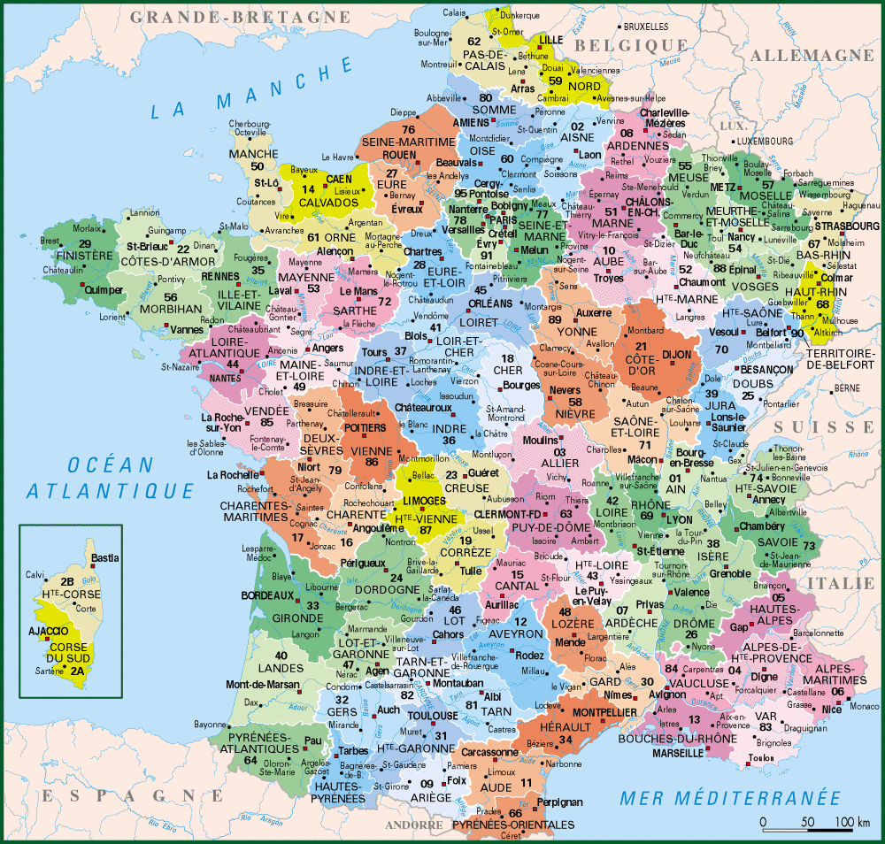 Carte De France Departements : Carte Des Départements De France intérieur Carte De France Des Départements À Imprimer